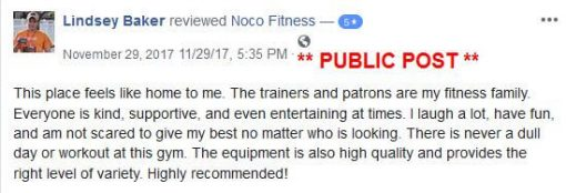 NoCo Fitness testimonial from Lindsey Baker